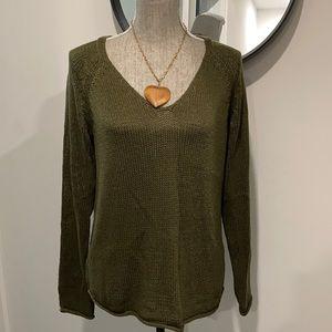 🔥Take 50%OFF🔥 H&M Green V-neck Knit Sweater Sz s